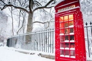Telephone box in the snow.