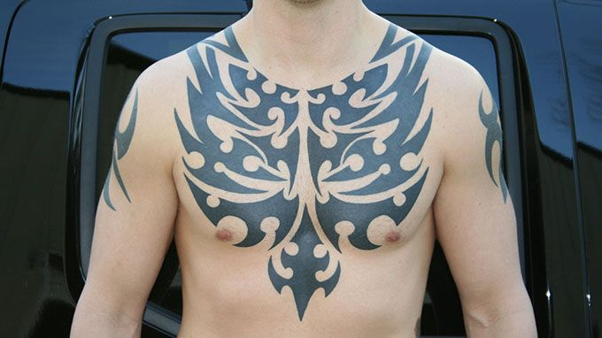 Excellent-Tribal-Chest-Tattoo