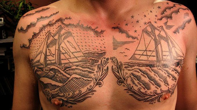 artistic-chest-tattoos-for-men-two-ships