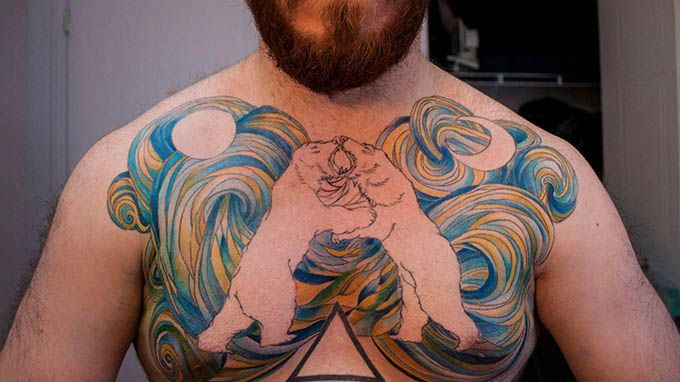 bears-fight-chest-tattoo-for-men