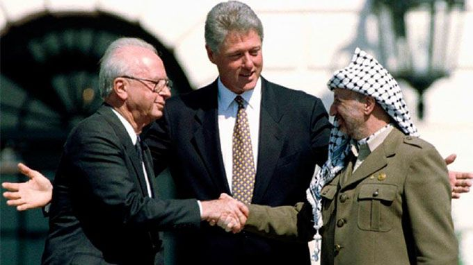 arafat-rabin-rose-garden-never be peace in the Middle East