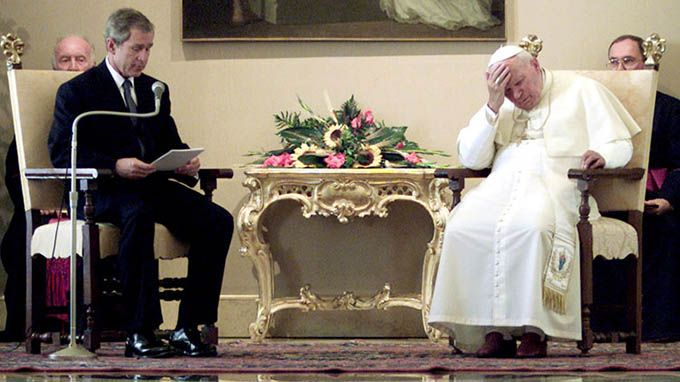 Politics have no relation to morals bush and pope