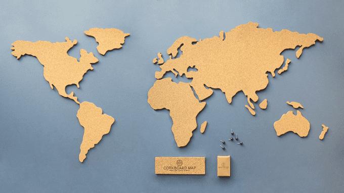 World Map Cork Board
