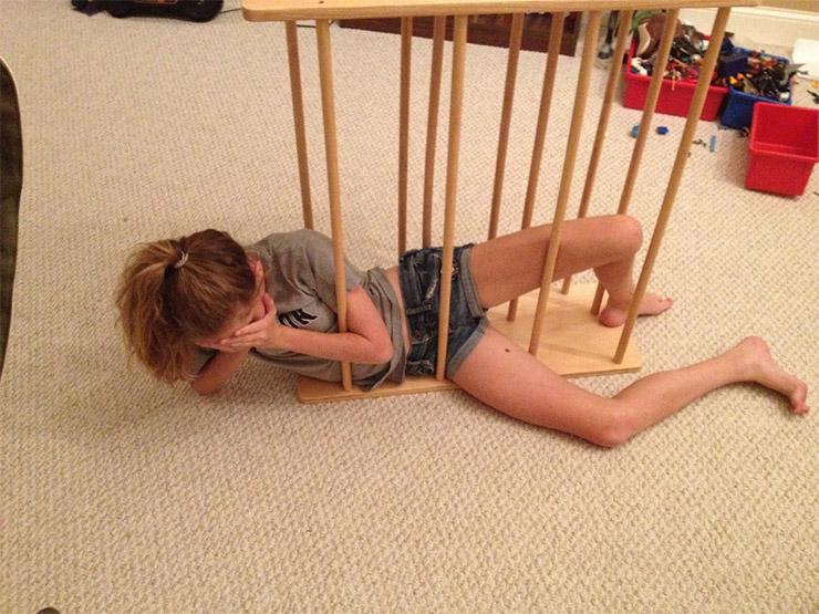Girl Stuck in a Towel Rack